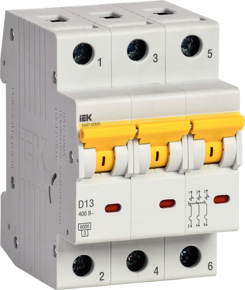 Автоматические выключатели ВА47-60МА с характеристикой D 6кА без теплового расцепителя